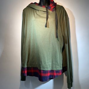 DJT Women's funnel neck check contrast hoodie NWT